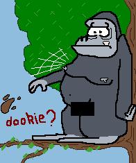 gorila atirando excremento