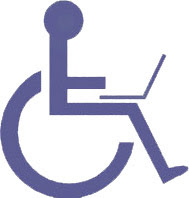 universal symbol for disabled with added laptop computer