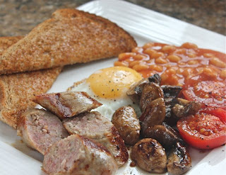 Fried sausage, egg and beans