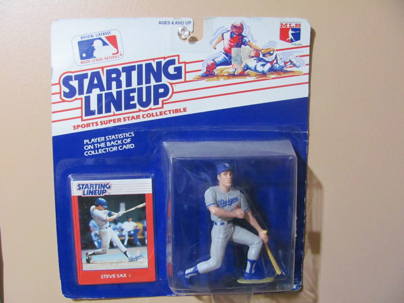 Steve Sax Starting Lineup figure on display in the box before going up for sale
