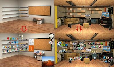 papéis de parede estilo escritório e sala designer