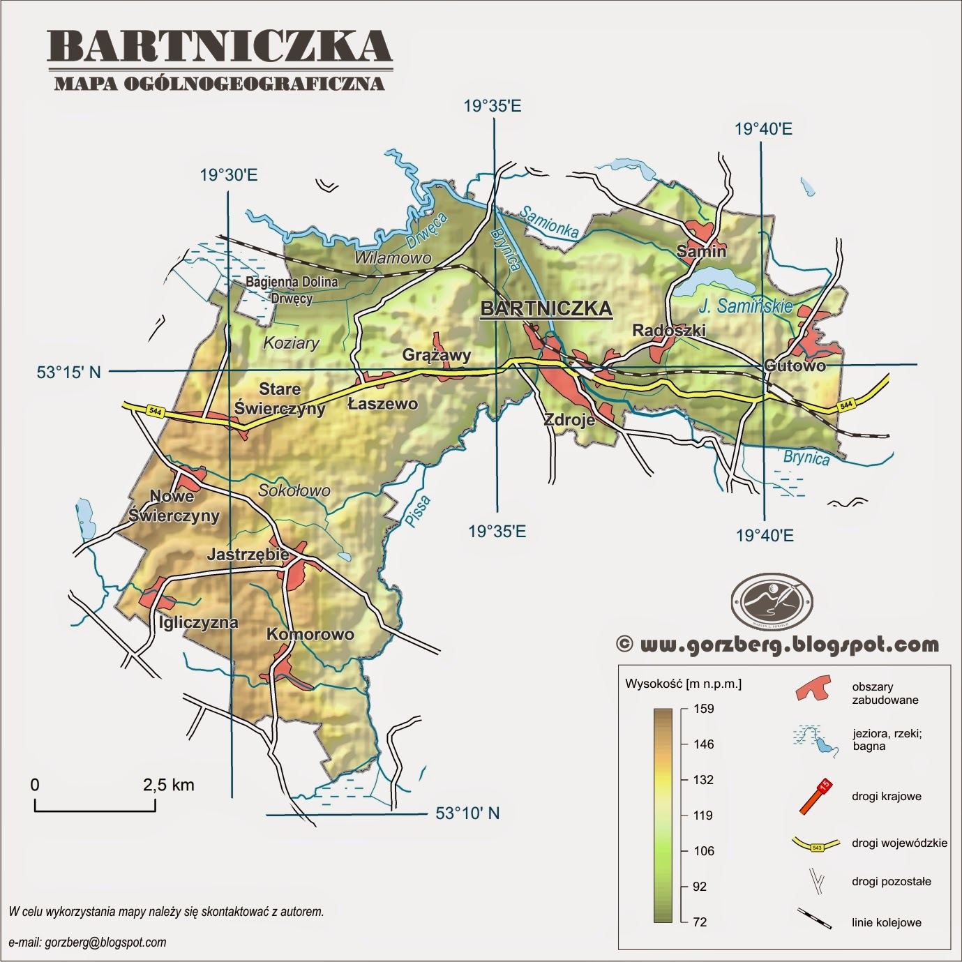 Mapa ogólnogeograficzna gminy Bartniczka