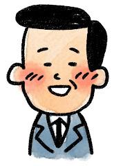 おじさんの表情のイラスト(照れ)