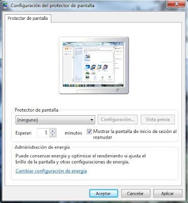 Configuracion del protector de pantalla - Windows 7