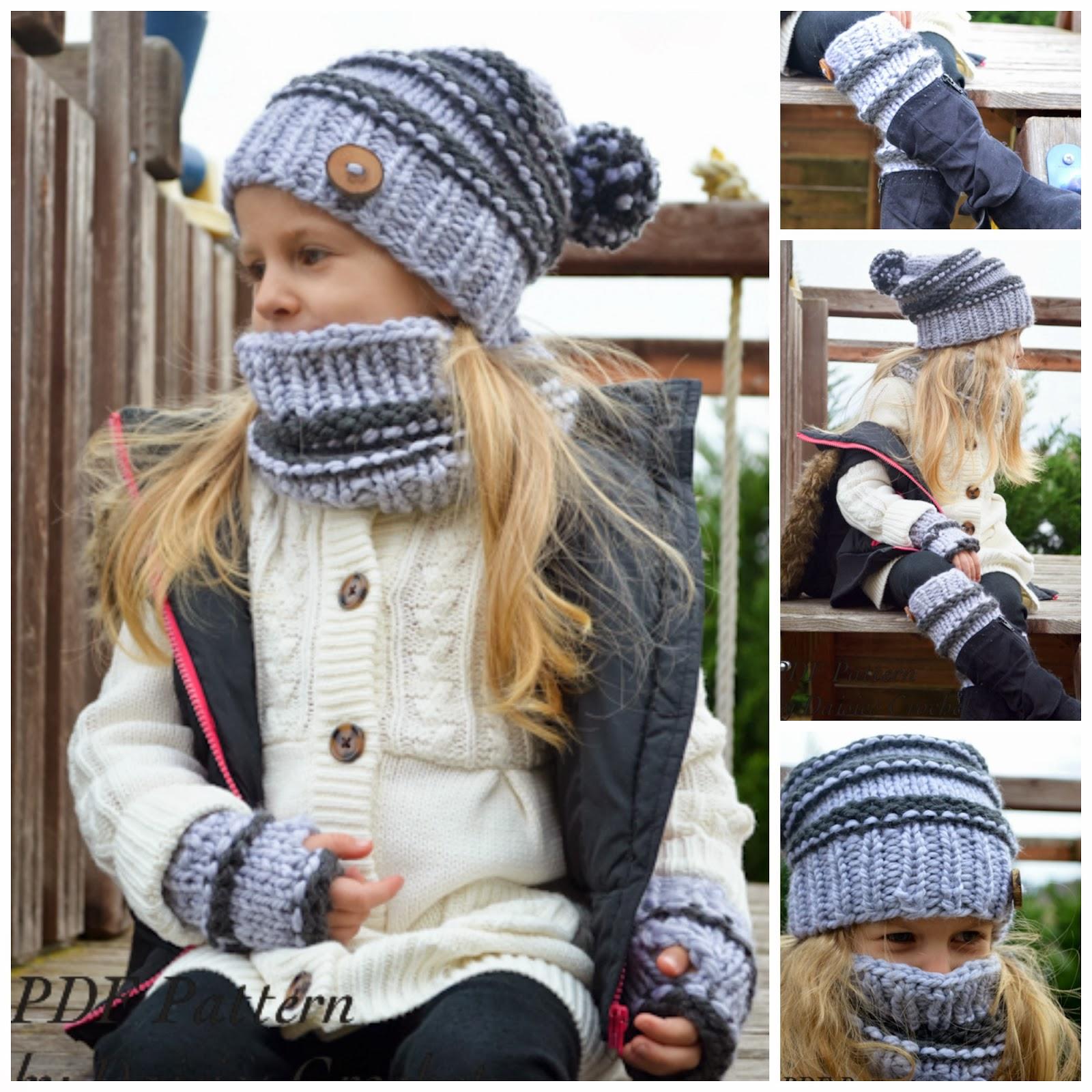 Daisies Crochet Set Of Venice Clouchy Hat Cowl Fingerless Mittens