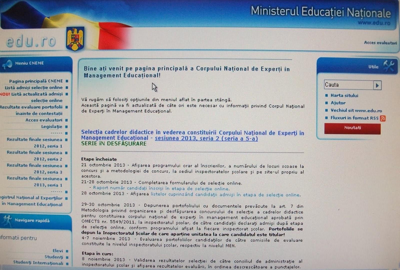 Siteul Corpului Naţional de Experţi în Management Educaţional...