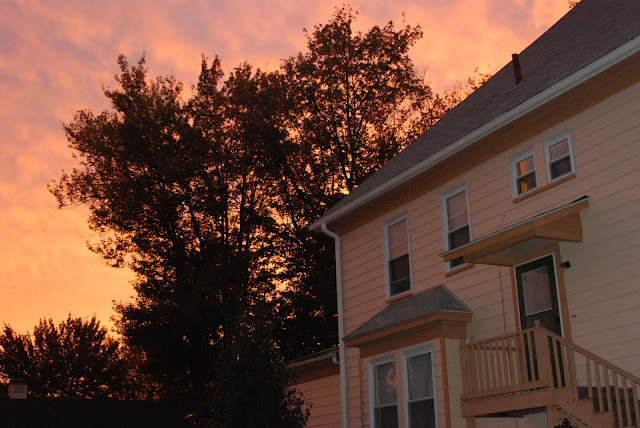 sunset photos that I took while enjoying a nice warm evening and appreciating our newly-painted home and mature maple trees.