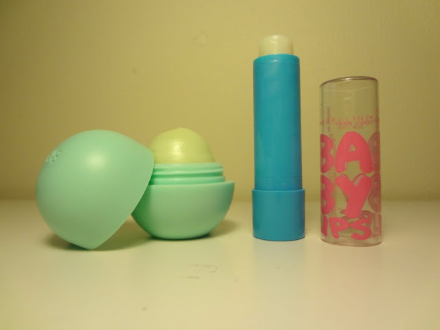 maybelline baby lips quenched lip balm and eos sweet mint lip balm