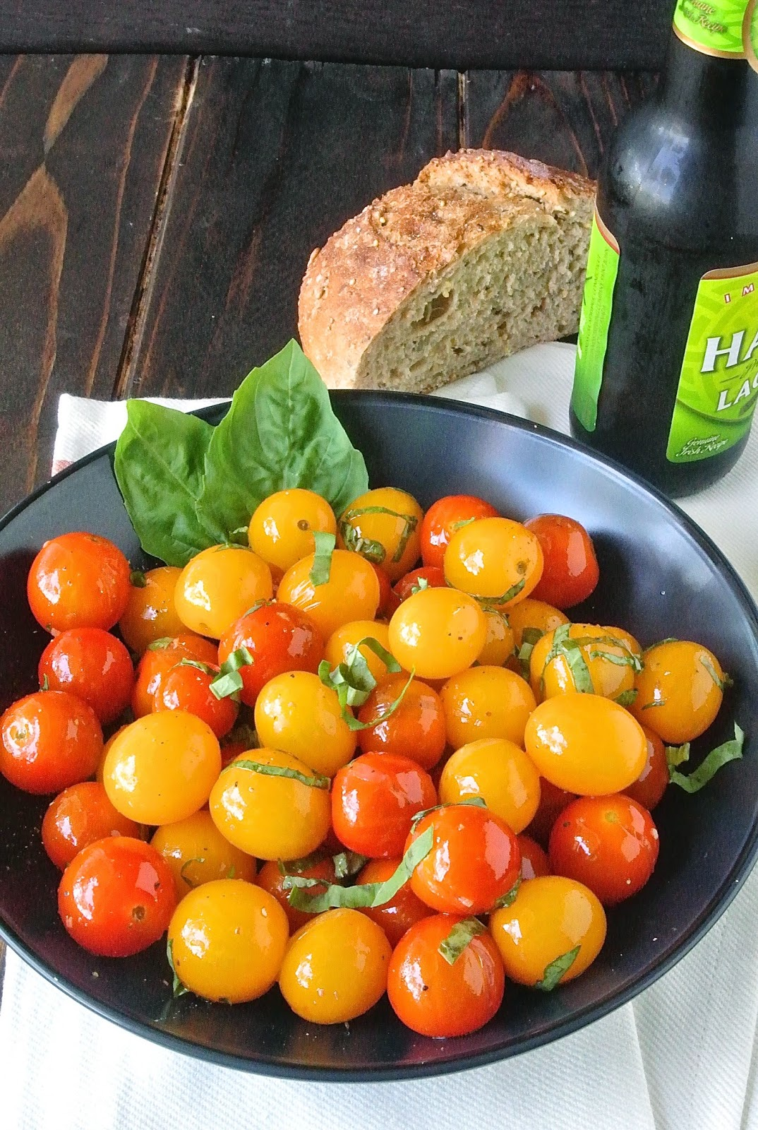 Warm cherry tomato salad