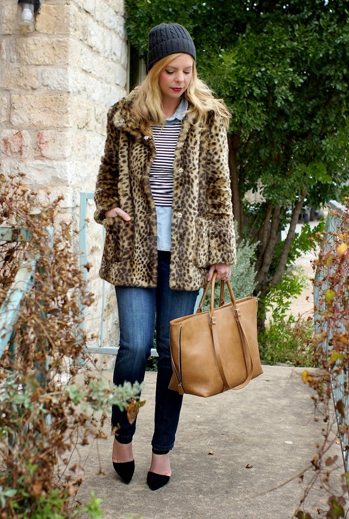vigoss skinny jeans leopard faux fur coat