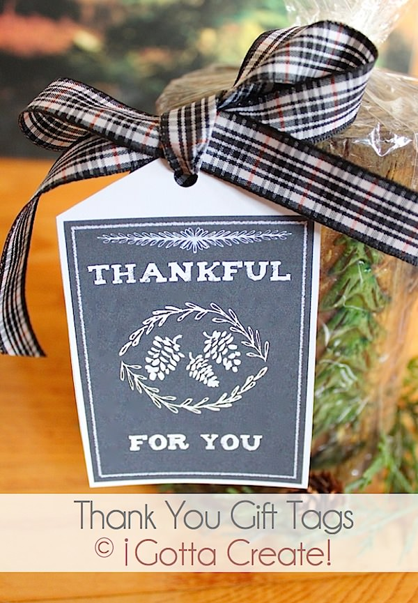 Thankful for You #thanksgiving gift tag #printable sheet at I Gotta Create!