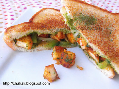 paneer sandwich, grilled paneer sandwich, paneer toast sandwich, paneer quick snacks recipes, one dish meal recipes, quick snack recipes