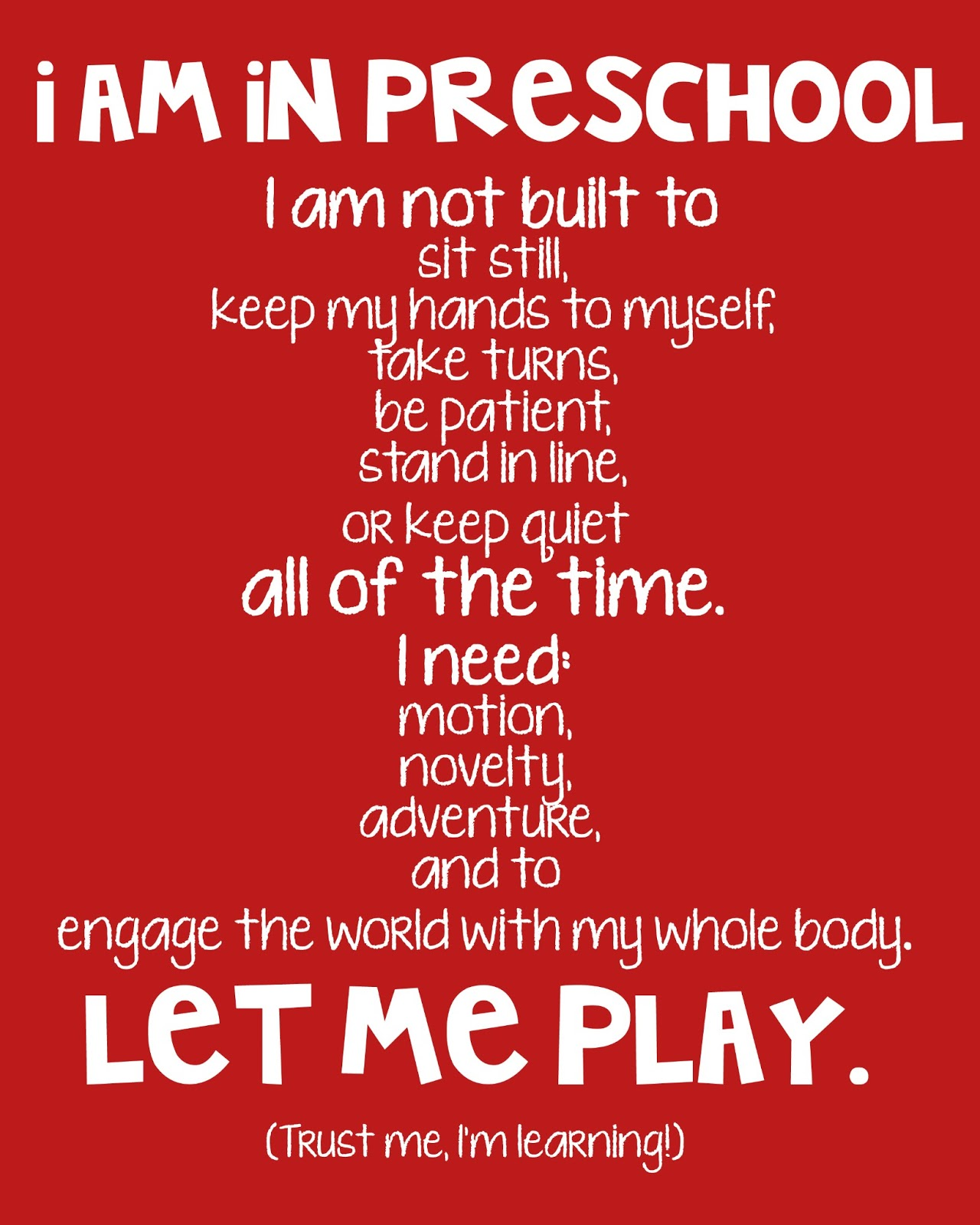 Image result for i am in preschool poem