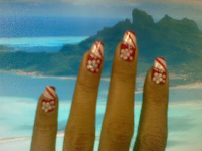 beautiful red flower nail art design  picture