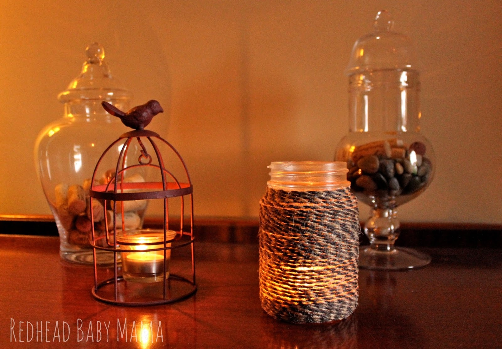 Twine Wrapped Mason Jar with Mod Podge