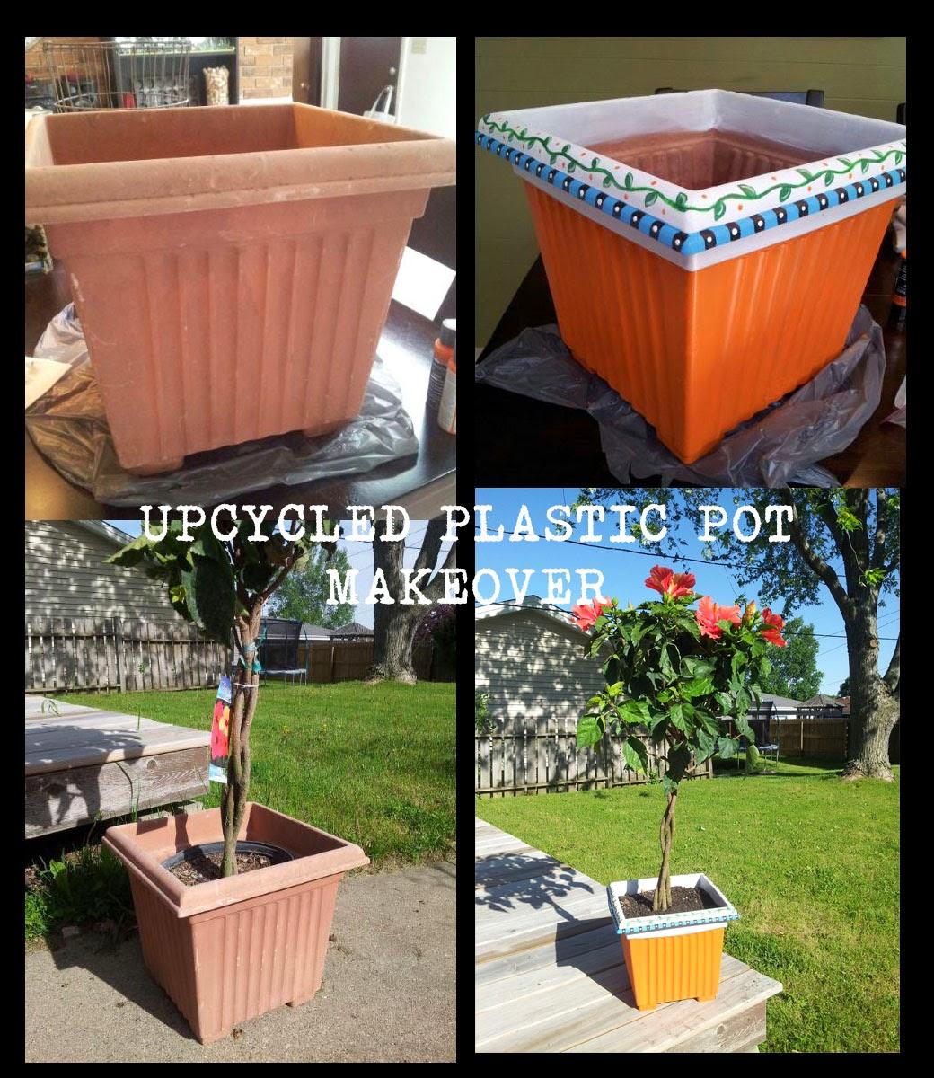 Upcycled Plastic Pot Makeover - DecoArt Americana Multi-Surface Satin Paint #decoart #americanapaints #paintingtutorial