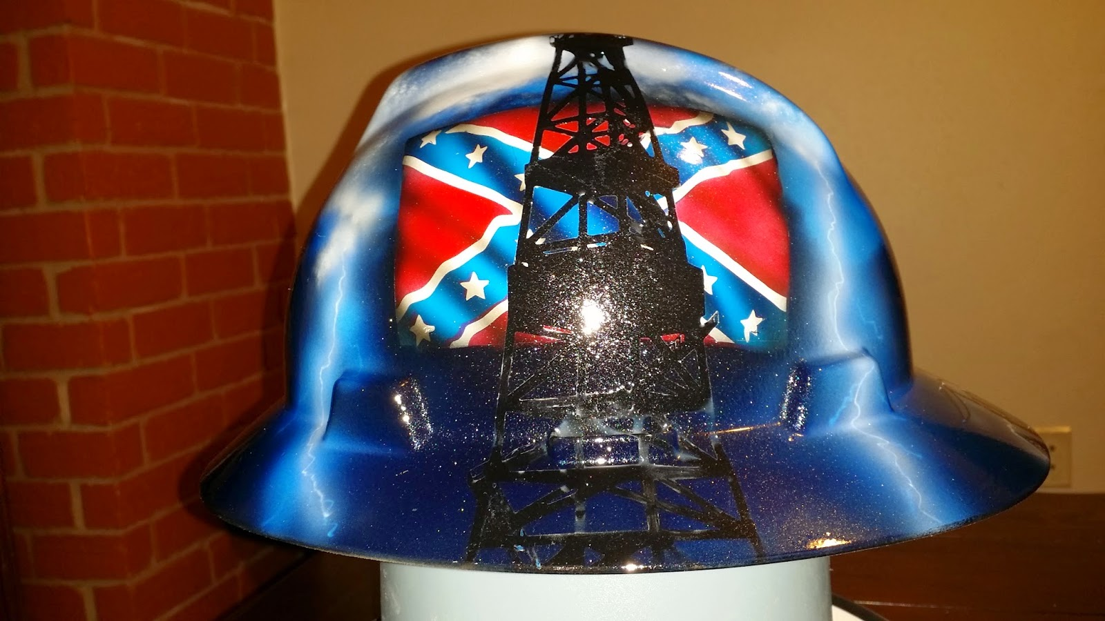 custom painted hard hat with rebel flag and oil derrick