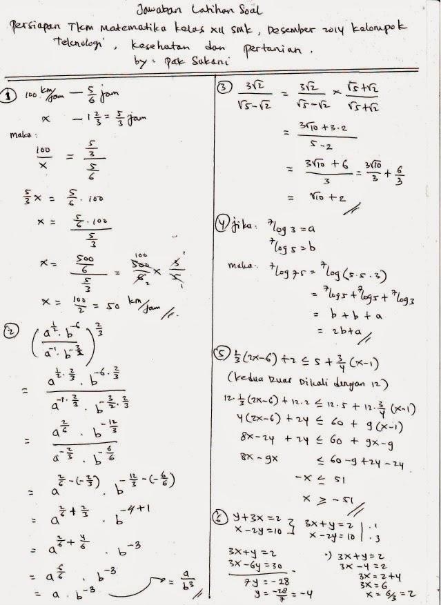 Pembahasan Soal Latihan Persiapan Tkm Matematika Smk 2014 2015 Download Soal Smk