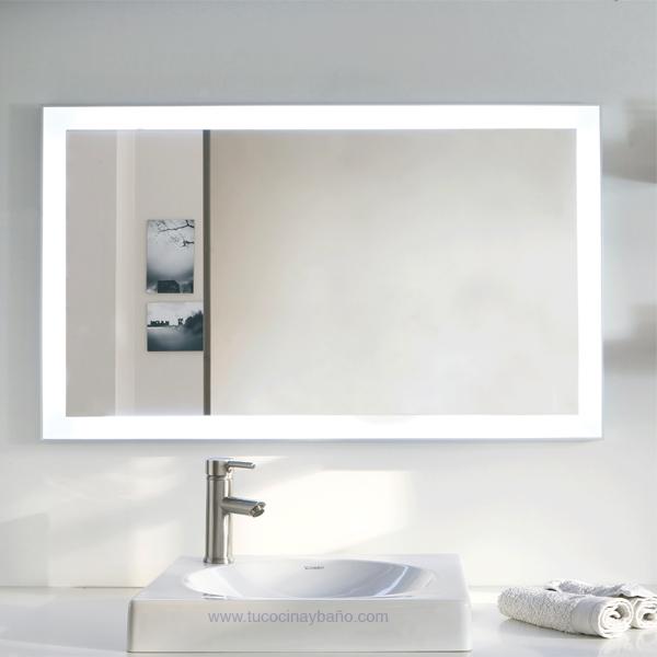 Espejo led ba o marco aluminio tu cocina y ba o for Espejos de bano con led