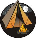 Camping tent and bonfire