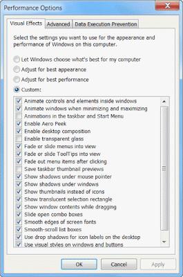 Bagian untuk memodifikasi tampilan windows 7