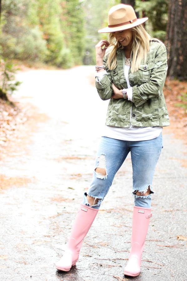 pink tall glossy hunter rain boots