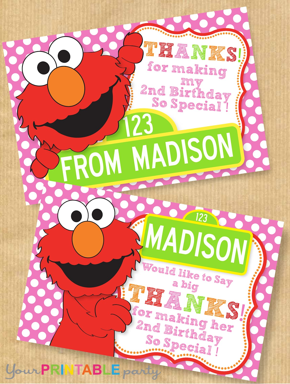 Your Printable Party New Sesame Street Inspired Thank You Notes