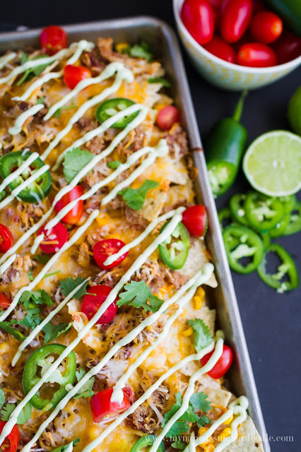 Pulled Pork and Sweet Corn Nachos with Avocado Cream!  Perfect for a simple weeknight meal or game day!  |  My Name Is Snickerdoodle.com