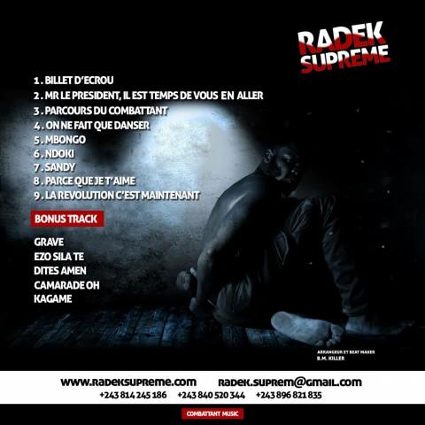 """Radek Suprême l  ' Album """" Billet d ' écrou """" Disponible ."""