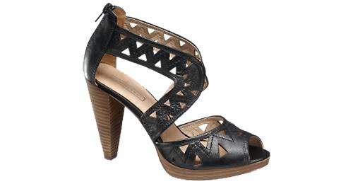 Plató talpú szandál - fekete - hátul dekoratív cipzár design - Deichmann női cipő 2012