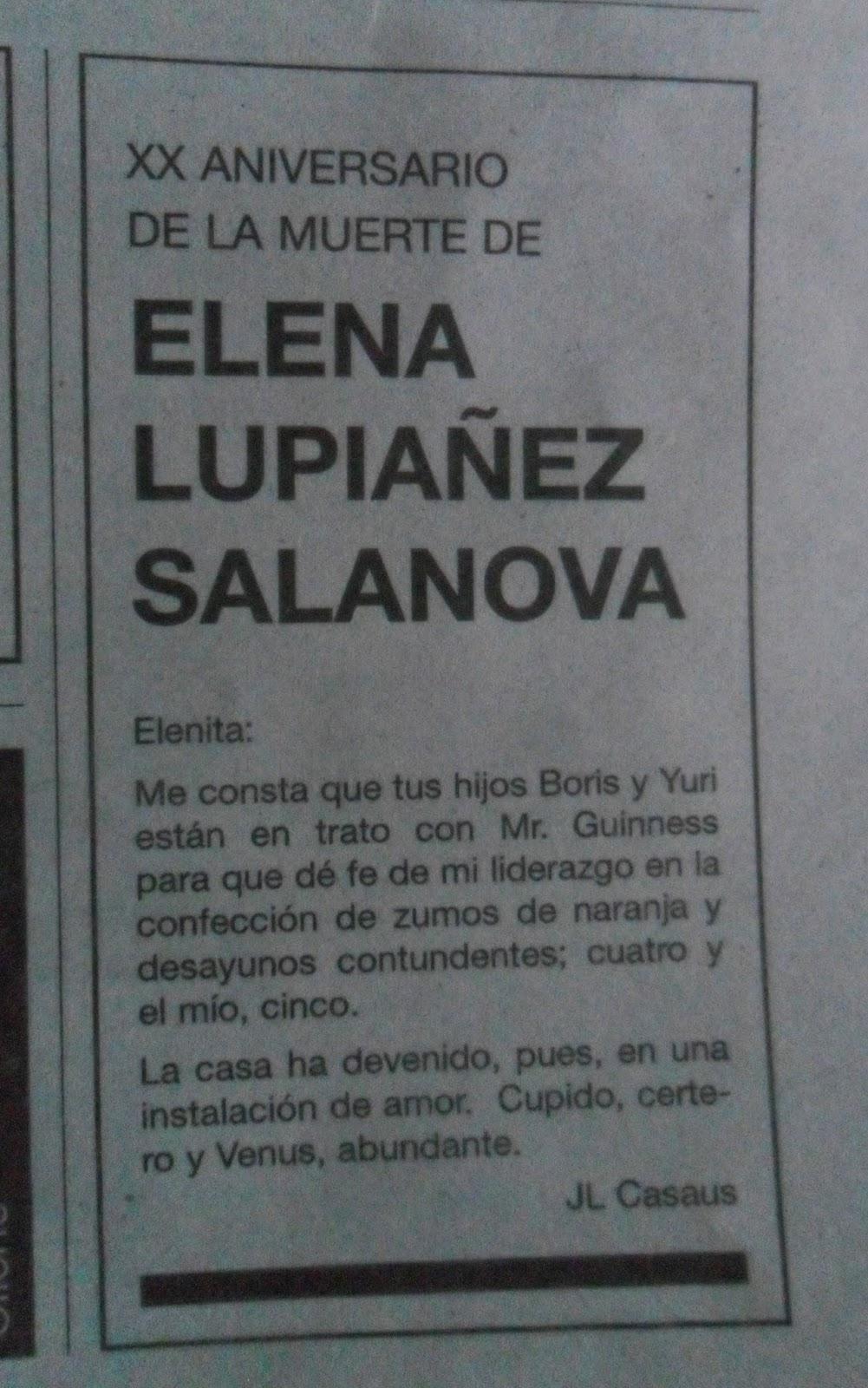 Elena Lupiáñez Salanova, José Luis Casaus, esquela, El País, vigésimo aniversario