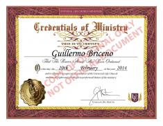 My The Universal Life Church Monastery Ordination Certificate