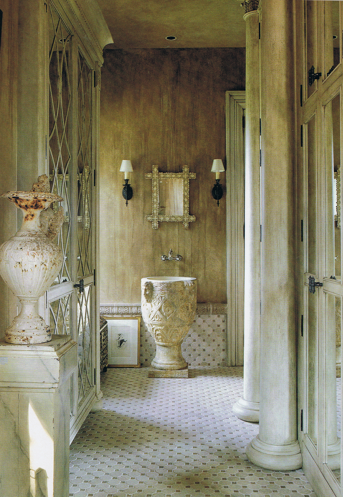Color outside the lines powder room week sinks for Greek style bathroom design