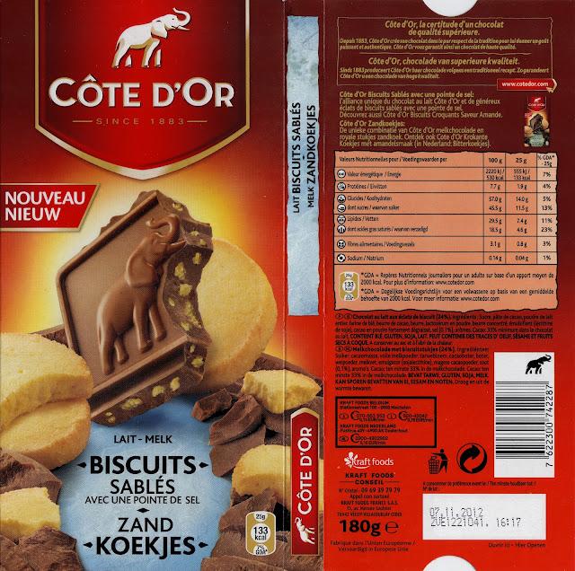 tablette de chocolat lait gourmand côte d'or lait biscuits sablés avec une pointe de sel
