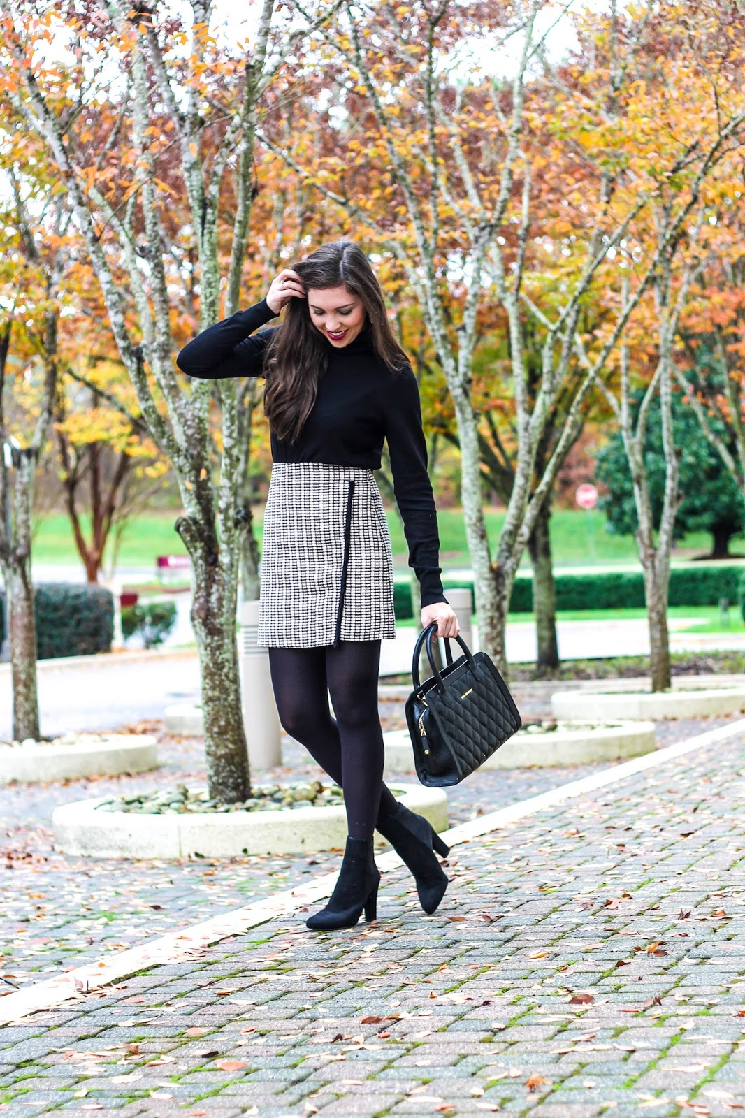 Tweed Mini Skirt, Highwaisted Skirt, Classic Look for fall, work appropriate outfit for fall, work appropriate outfit for winter, winter outfit, cute thanksgiving outfit, black turtleneck sweater, jcrew skirt, black suede ivanka trump booties, vera bradley satchel, fashion blogger, fashion blog, style blogger, pretty in the pines, black tights with skirt, fall trends, winter trends