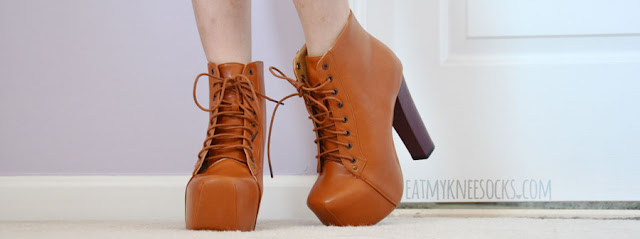 Milanoo sells these tan-colored lace-up faux-leather booties, dupes of the Jeffrey Campbell Lita platform heels.