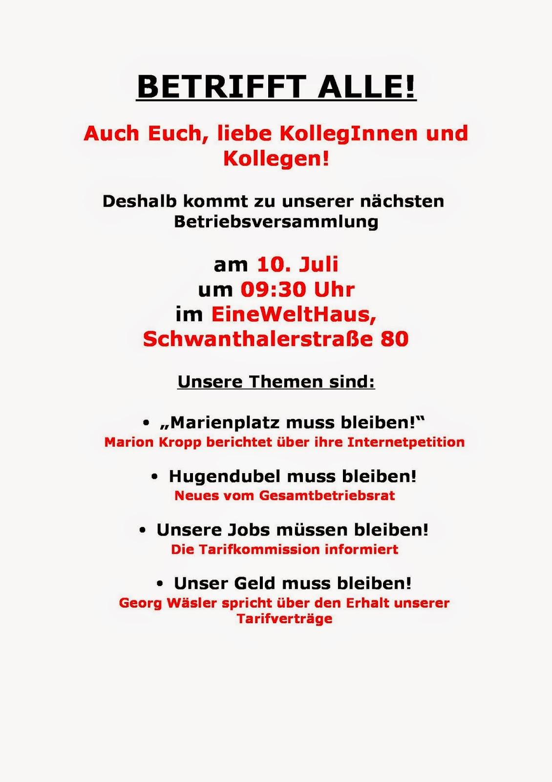 hugendubel verdi infoblog: 10.juli: betriebsversammlung in münchen, Einladung