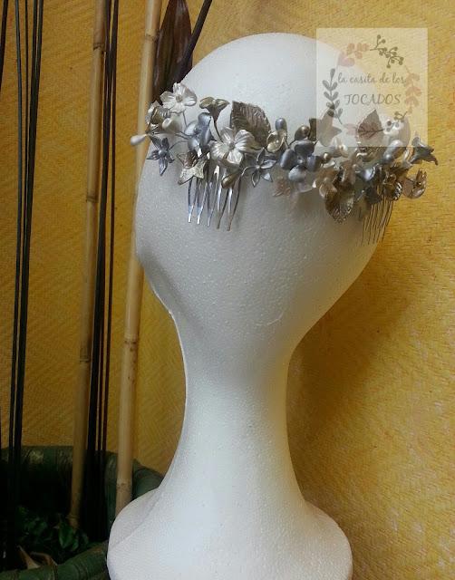 semicorona de novia artesanal en colores metalizados