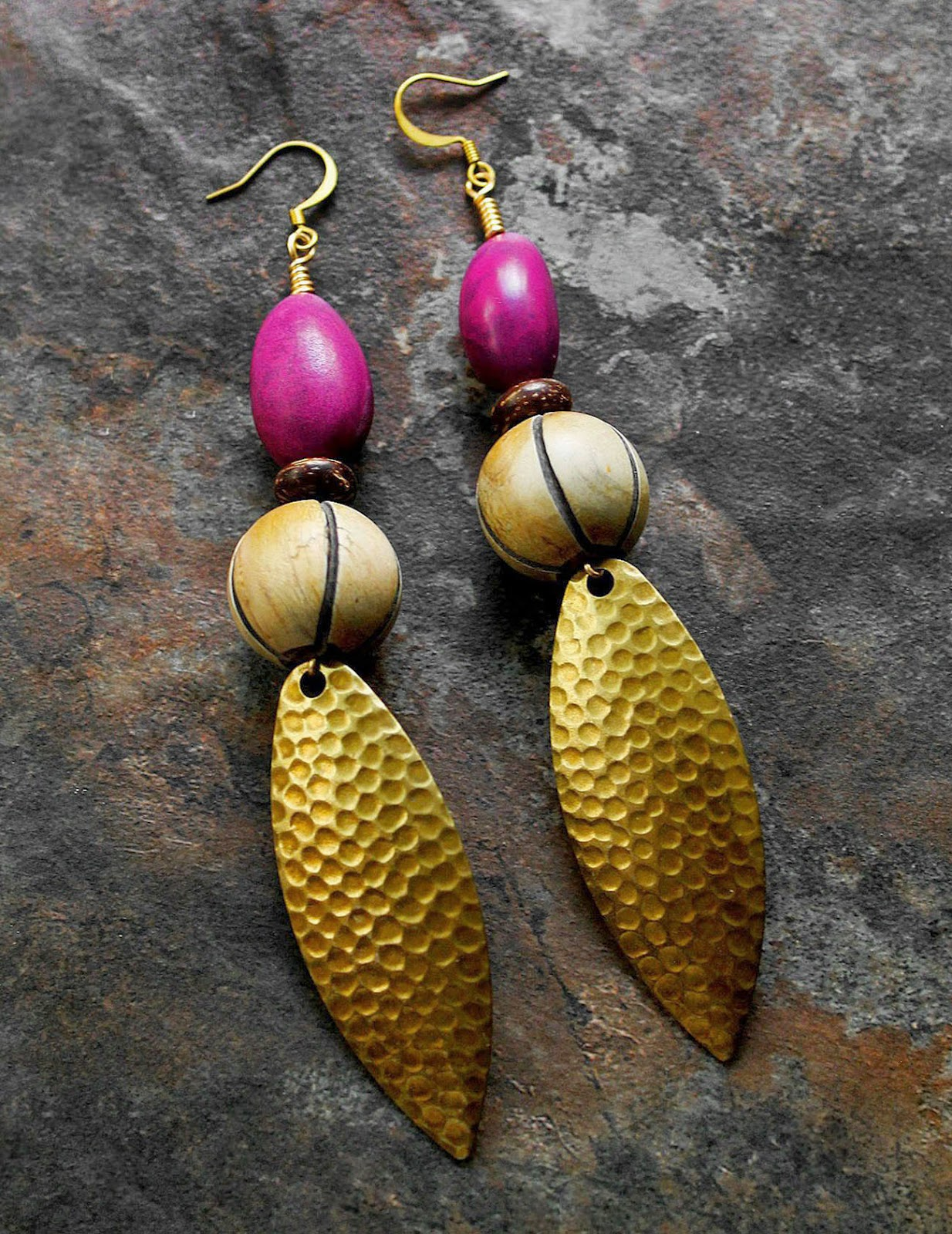 african hammered brass earrings