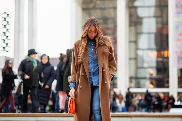 camel coat denim shirt denim jeans light wash denim womens fahsion long brunette orange purse new york street style womens winter fashion 2014