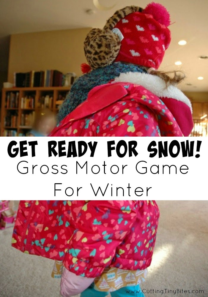 Get ready for snow gross motor game cutting tiny bites for Winter themed gross motor activities