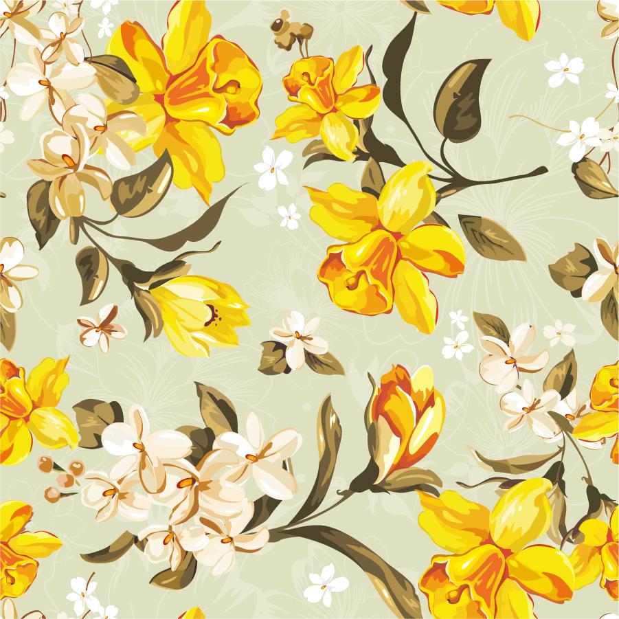 大輪の黄色い花びらの背景 exquisite flower pattern vector イラスト素材