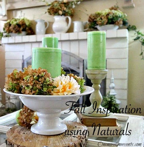 Using dry Hydrangeas to decorate for fall at One More Time Events.com