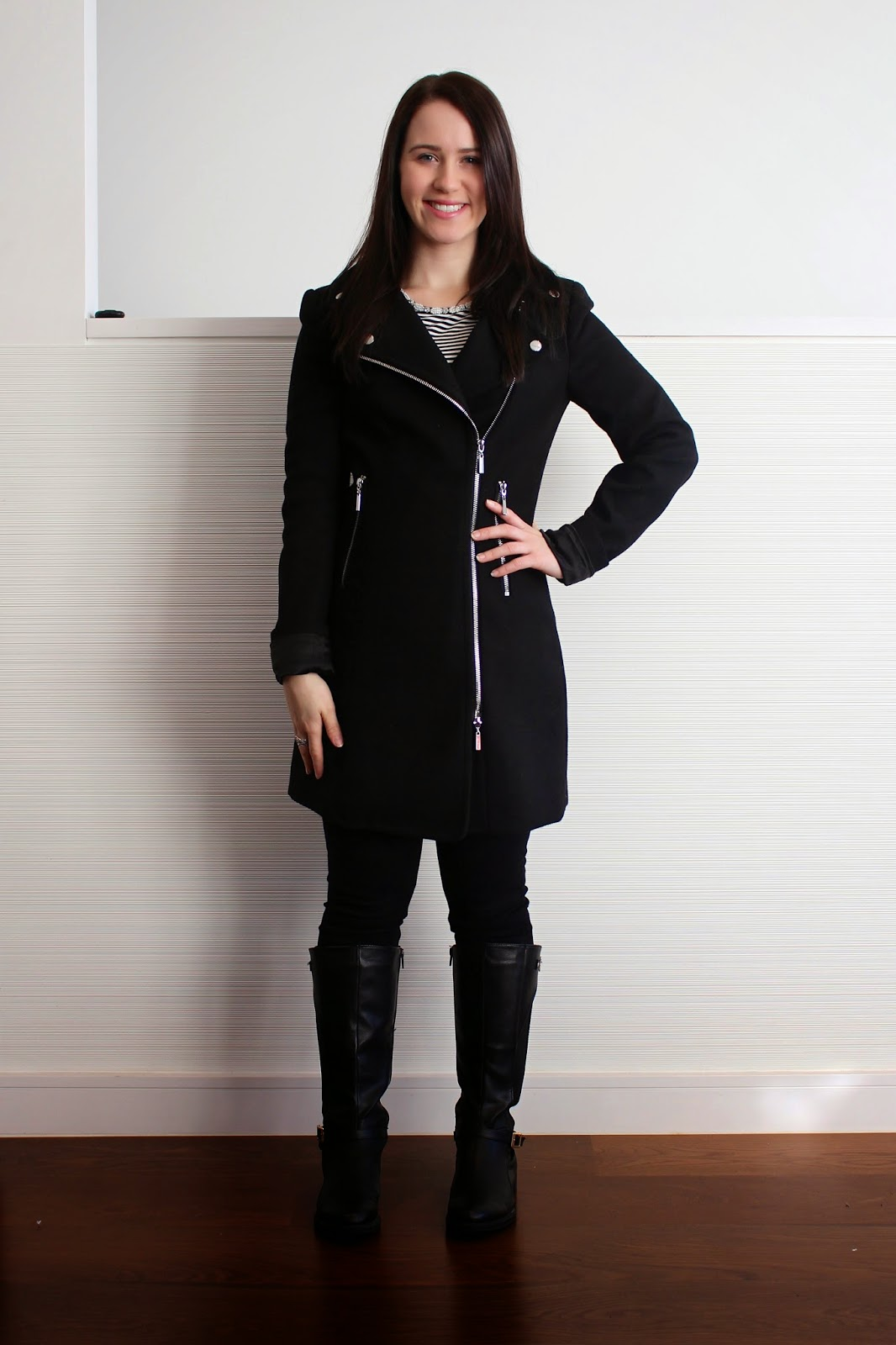 Black skinny jeans, striped peplum top with embellished neckline, black biker coat, black riding boots, pandora rings, everyday outfit, winter outfit, fall outfit, autumn outfit, jeans and riding boots