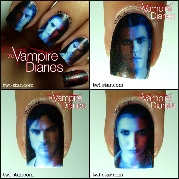 Twi star nail art blog vampire diaries nail art water decal i didnt know what to do with the last nail so i chose the obligatory blood splatters probably from damon eating some innocent i love my vampire diaries prinsesfo Gallery