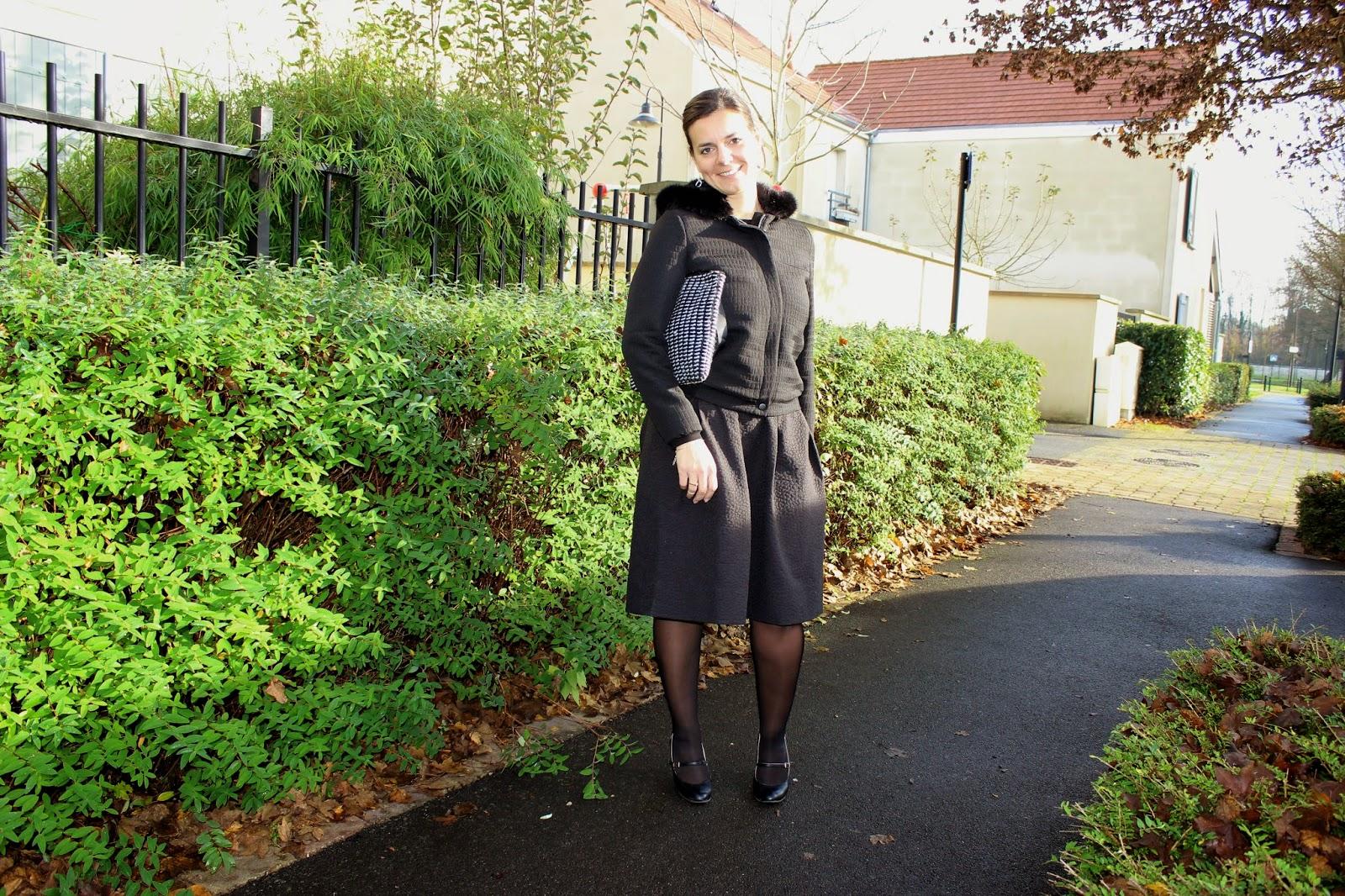 jupe taille haute et pull court, manteau naf naf