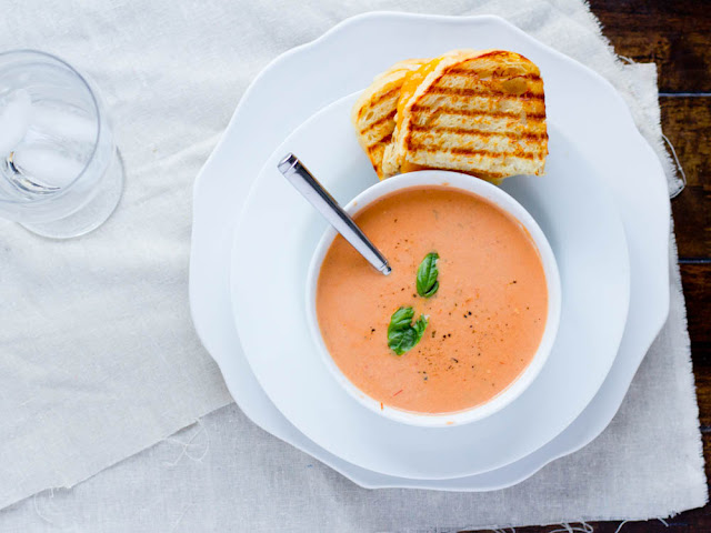 Cream of Tomato Soup and 3 Cheese Grilled Cheese