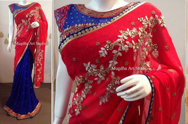 Blue Red Sequence Saree