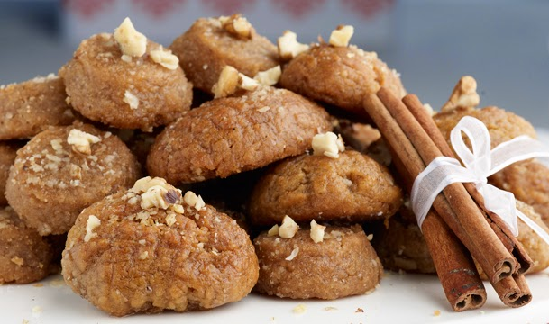 Christmas sweets, Greek honey cookies with syrup, Mediterranean Diet, Melomakarona Greek Christmas sweet,