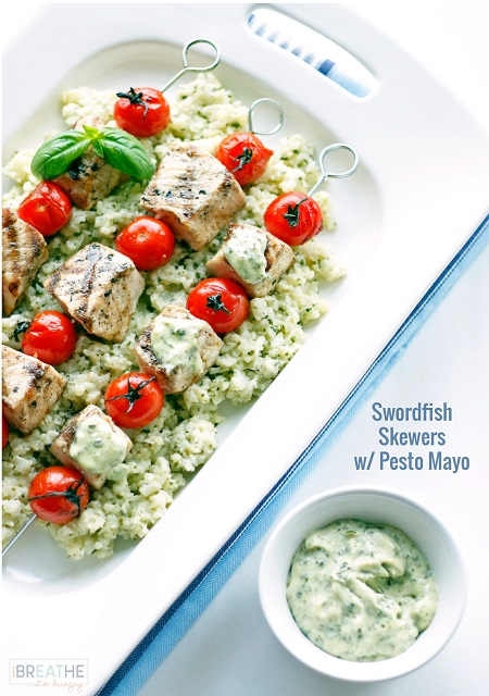 Low-Carb Grilled Swordfish Skewers with Pesto Mayo from I Breathe, I'm ...